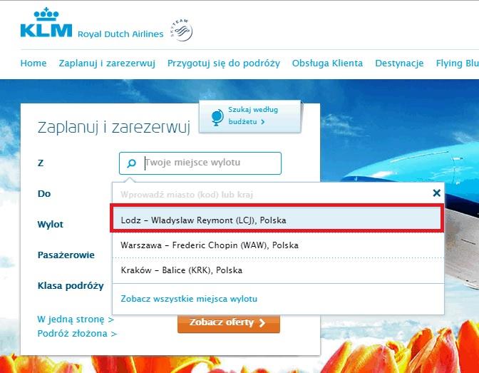 Łódź w ofercie KLM