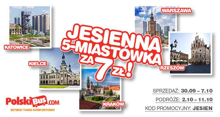 PolskiBus.com Jesienna 5 miastówka za 7 zł