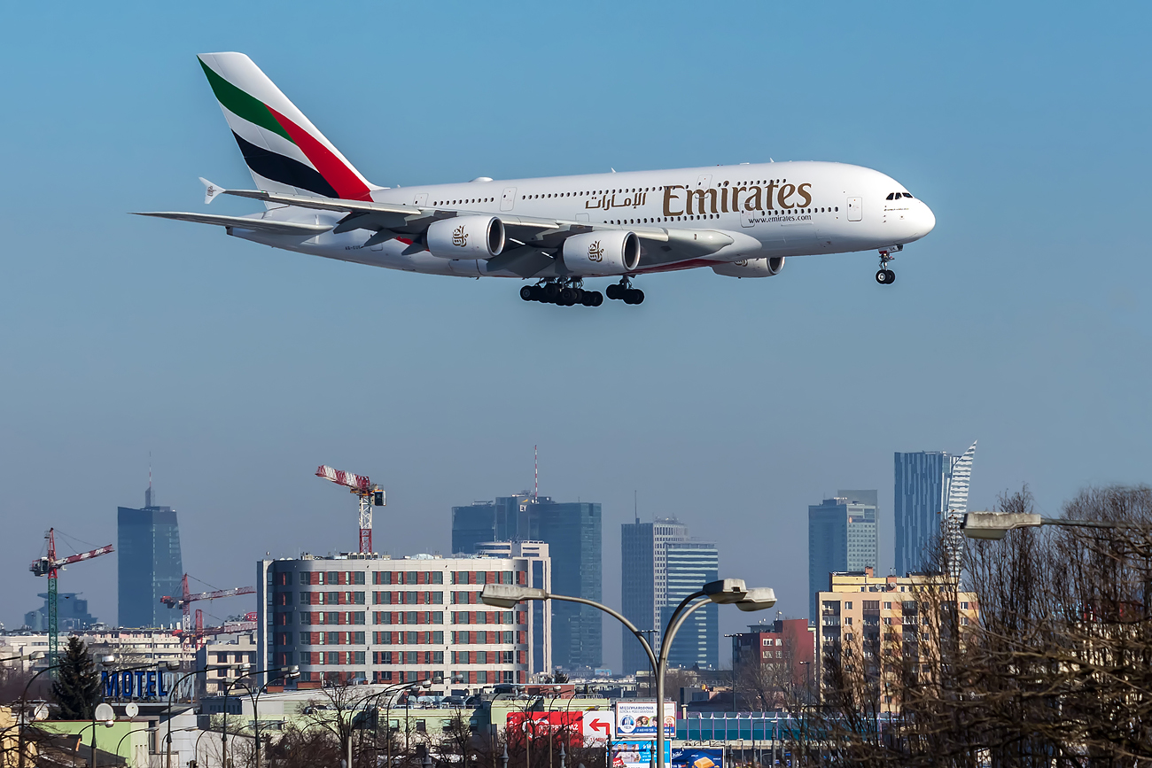 a380 pictured coming into land at warsaw