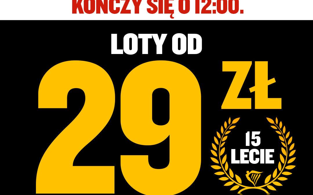 RYANAIR ŚWIĘTUJE 15-LECIE W POLSCE, NOWA PROMOCJA HAPPY HOUR W PIĄTEK 30.10